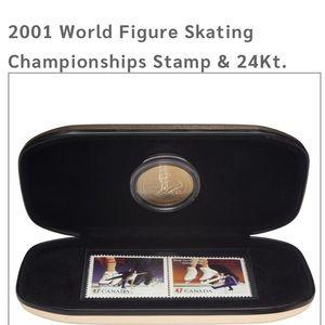 STAMP & 24KT. GOLD-PLATED MEDALLION SET 2001 SKATE